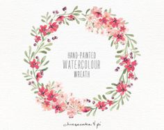 Watercolor wreath: PNG floral clip art / flower by CheesecakeandPi
