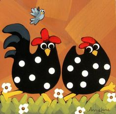 """"""" CHICKEN RUN """" Whimsical Chickens Painting by Annie Lane  www.yessy.com/annielane"""