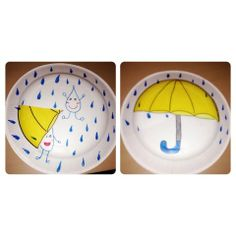 Paper Plate Weather Wheel! - You need 2 paper plates, scissors, color pens. (1) Draw weather pictures (2) Cut a slit to the center on both paper plates (3) Hold both paper plates together and slide the bottom paper plate over the top one (4) Use them to discuss weather! #preschool #kidscrafts #efl (pinned by Super Simple Songs)