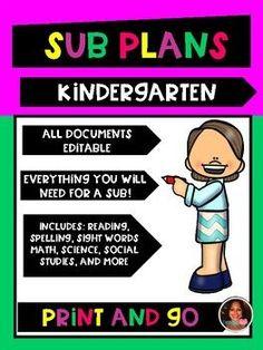 Kindergarten Sub Plans