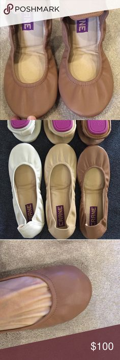 New Crane ballet flats These flats are a comparable alternative to Tieks. They're a Philippine company, the shoes are genuine leather upper, sole, and even the bottom is leather, everything except the purple rubber soles. They are foldable and store just like Tieks and Yosi Samra. I tried Tieks and they squished my toes too much, and the back dug into my heel. I heard about these in a fb group, and now have 3 pairs! They are much comfier IMO. The color is similar to Tieks taupe, but a little…