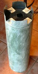 squirrel baffle using stovepipe and wire mesh (instead of solid cap... easier to secure and cut)