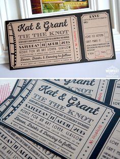 brown kraft card cinema wedding invites