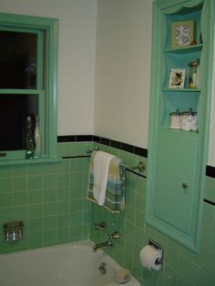 1950s Charm, Updated, 1950s tile work, old fixtures, updated look , Built in shelves make this bathroom unique!, Bathrooms Design