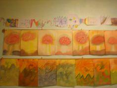 Rij 1: een groepswerkstuk, iedereen deed mee! Rij 2: paddenstoelen op een rij. Rij 3: Sint Michaël en de draak.