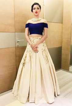 off-the-shoulder crop top with flared lehenga