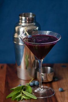 Blueberry Lemon Verbena Martini at cocktails.chasingdelicious.com. Recipe by Ken Leung.