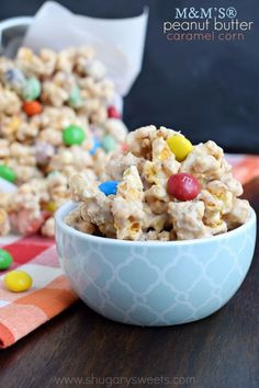 Snack time just got tastier with this homemade M&M'S® Peanut Butter Caramel Corn! Make a batch today! @mmschocolate