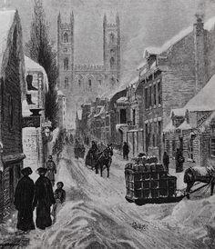 Montréal 1882. Rue St-Urbain Sud et l'église Notre Dame, depuis rue de La Gauchetière (env.)    Archives de Montréal / J.Horatio Walker (1858-1938)