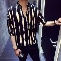 392c341f30da Stripe pullover shirt men herren hemd camisa masculina shirt homme korean  fashion stylish designer shirt men