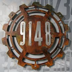 Steampunk House Numbers in Rusted Steel