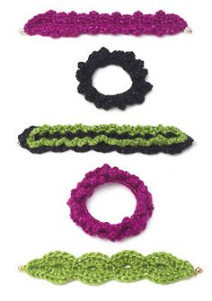 Another great collection of yarn crochet bracelet tutorials.
