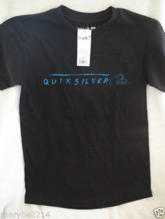 New Boy Youth Quicksilver T-Shirt Black/Blue Size M 10/12 New