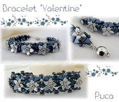 """Bracelet """"Valentine"""" Schéma disponible sur """"Les perles de puca"""""""