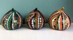 Three Fall Pumpkins in Glass Mosaic | Etsy White Serving Tray, Rainbow Glass, Fall Pumpkins, Mosaic Glass, Frames On Wall, Mosaics, Ceramics, Pearls, Christmas Ornaments