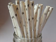 Silver Stars Straws, Silver Stars Paper Straws, Silver Straws, Wedding Straws, Silver Anniversary, Party Straws, magical theme party, 10 pcs by ThePartyGnome on Etsy https://www.etsy.com/listing/255007379/silver-stars-straws-silver-stars-paper