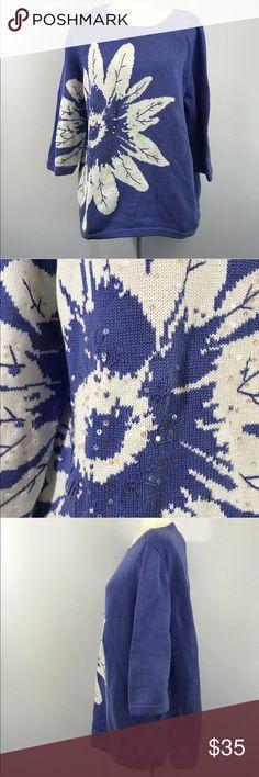 "Quacker Factory Blue Floral Oversize Sweater XL Quacker Factory Womens XL Extra Large Oversize Sweater Sequins Floral 3/4 Sleeve  Features: oversize 3/4 sleeve 100% cotton machine wash  Approximate measurements: bust: 50"" length: 26""  Condition: Good pre-owned condition. Minor spot on sleeve. Quacker Factory Sweaters Cowl & Turtlenecks"