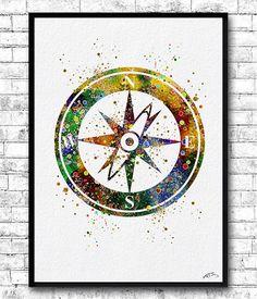 Instant Digital Download Compass 2 Watercolor print by ArtsPrint