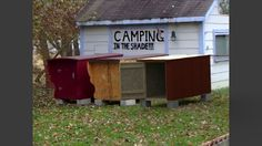 Homeless mobile shelters on Church property.