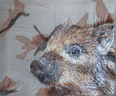 Wild Boar textile art £500.00
