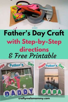 Do you want to create a homemade Happy Father's Day gift with your kids? This is a great project that kids can make with some help for Father's Day. You only need a few supplies. Including a cardboard box and duct tape. With a free printable your child can customize the DIY Father's Day present to include favorite hobbies. This makes a truly unique and usable Happy Father's Day present.  #Fathersday #Fathersdaycraft Daddy Gifts, Gifts For Father, Happy Father, Diy Father's Day Crafts, Father's Day Diy, Fathers Day Frames, Fathersday Crafts, Printable Cards, Free Printable