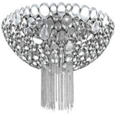 """Cameo Collection 17 3/4"""" Wide Polished Nickel Ceiling Light"""