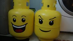 Fun idea for decorating your camper LP tanks. They are perfect scale to make them into Lego figure heads!