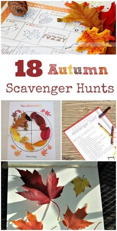 18 Fall & Autumn Scavenger Hunts for Kids {w/free printable} Scavenger Hunts are a wonderful free learning activity — kids can work on reading skills, observation & finding seasonal clues! Autumn Activities For Kids, Fall Crafts For Kids, Thanksgiving Crafts, Toddler Activities, Learning Activities, Outdoor Activities, Bonding Activities, Kids Fall Crafts, Thanksgiving Activities