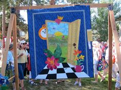 """Sister's outdoor quilt show 2011 Portland, OR """"Cover to Cover"""" book club    Alice In Wonderland...."""