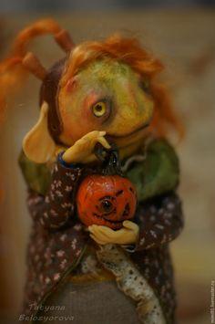"""Купить """"Прелесть моя"""" - комбинированный, хеллоуин, колдунья, тыква, сказочный персонаж, проволочный каркас"""