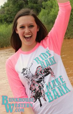 Crazy Train Clothing, Neon Pink Baseball Tee, Ride Rank Make Bank, Bull Rider, Rodeo, Cowboy, Cowgirl, Professional Bull Riding, $37.98, http://www.bunkhousewestern.com/7652_p/7652.htm