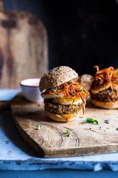 Sunflower Seed Veggie Burgers with Grilled Halloumi + Curried Tahini Sauce | halfbakedharvest.com @hbharvest