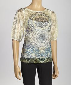 $16 Take a look at this Green Arabesque Peasant Top by Simply Irresistible on #zulily today!