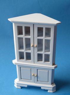 Simple Vitrine Eckschrank weiss Puppenhaus M bel f r Wohnzimmer Arbeitszimmer Miniatur V