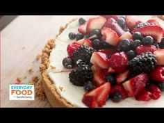 No-Bake Red, White, and Blue Cheesecake - Save a slice of this divine cake before you serve it – it disappears fast! Everyday Food editor Sarah Carey shows you how to make your new go-to dessert. Best No Bake Cheesecake, Baked Cheesecake Recipe, Berry Cheesecake, Easy To Make Desserts, No Bake Desserts, Dessert Recipes, Dessert Ideas, Everyday Food, No Bake Cake