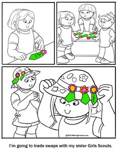 Daisy Girl Scout Coloring Page. Be a Sister to Every Scout. Print and color this page. For more coloring pages go to MakingFriends.com