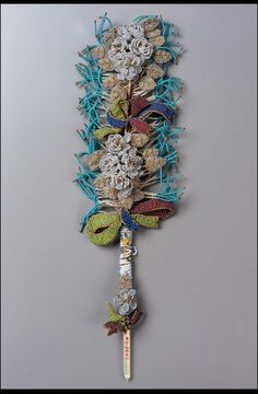 Marriage sablé pen, beadwork flowers, ribbons and feathers in high relief. French, late 18th century | Museum of Fine Arts, Boston