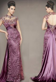 80' vintage Venice purple lace wedding dress Stretch Satin inner/unique backless bridal dressing gown/wedding party dress