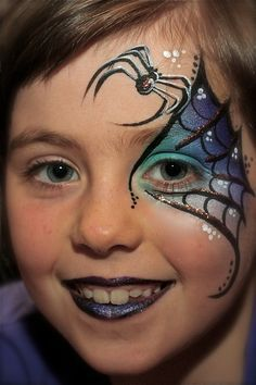 great take on a spider facepaint Kinderschminken Halloween Spider Face Painting, Eye Face Painting, Face Painting Designs, Face Art, Body Painting, Face Paintings, Halloween Makeup Looks, Halloween Make Up, Halloween Face