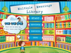 Multiple Meanings Library ($9.99) The Multiple Meanings Library was created by a certified speech and language pathologist for students ages 5–15 who struggle with oral and written comprehension of words with multiple meanings.    The Multiple Meanings Library allows students to practice multiple meanings in the following 5 different types of activities:  - Auditory bombardment  - Definitions  - Picture identification  - Fill-in   - Make up sentences (with audio recording feature)