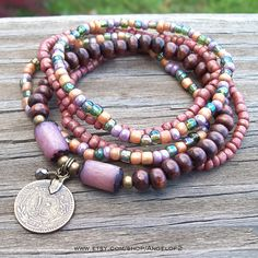 Bohemian Gypsy Peridot and Purple Coin Stacker by Angelof2 on Etsy, $25.50