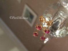 Brinco zirconia pink