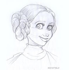 Cartoon sketch of Leia from Stars Wars by myself Cartoon Sketches, Illustration Sketches, Cartoon Faces, Girl Cartoon, Spiderman Drawing, Realistic Cartoons, Goku Drawing, Comic Tutorial, Princess Beauty
