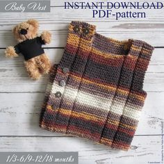 Baby knit Vest Set of 2 Easy Knitting pattern Baby waistcoat Easy Knitting Patterns, Baby Patterns, Pdf Patterns, Knit Vest Pattern, Circular Knitting Needles, Baby Knitting, Clothes, Diy Baby, 18 Months