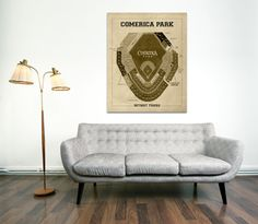 Print of Vintage Comerica Park Seating Chart Canvas by ClavinInc