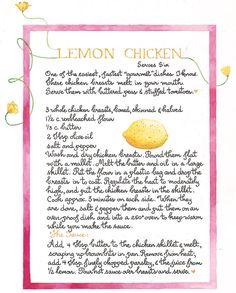 Lemon Chicken recipe from Susan Branch. Old Recipes, Vintage Recipes, Great Recipes, Cooking Recipes, Favorite Recipes, Family Recipes, Lemon Chicken, Food Illustrations, Recipe Cards