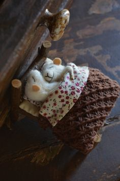 Sleeping Married Sweet Tiny Mice - unique - needle felted ornament animal, felting dreams made to order. $118.00, via Etsy.