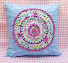*MADE TO ORDER*    This pretty mandala cushion is lovingly handmade by me using a blue cotton spot fabric, with a crocheted mandala handsewn to