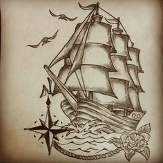 Traditional ship tattoo by - Ranz