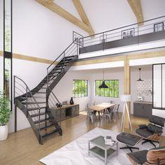 Le style industriel s'installe chez vous avec cet escalier tout métal résolument contemporain. Description du modèle présenté : Escalier 1/4 tournant limon métal option finition thermolaquée RAL 7016 gris, …